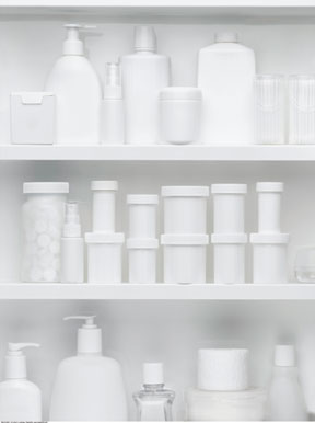 Medications in a medicine cabinet.