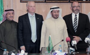 Left to right: Vice Minister of Health and Health Affairs, Dr. Mansour Naser Al-Howasi, Charge d'Affaires, U.S. Embassy in Riyadh, Tim Lenderking, Minister of Health, Dr. Abdullah bin Abdul Aziz Al Rabeeah, Chief Operating Officer of DaVita HealthCare Partners, Dennis Kogod.