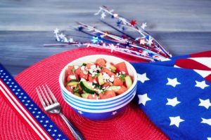 watermelon salad on red, white, blue background