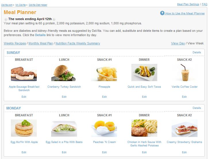 DaVita Diet Helper Meal Planner 2